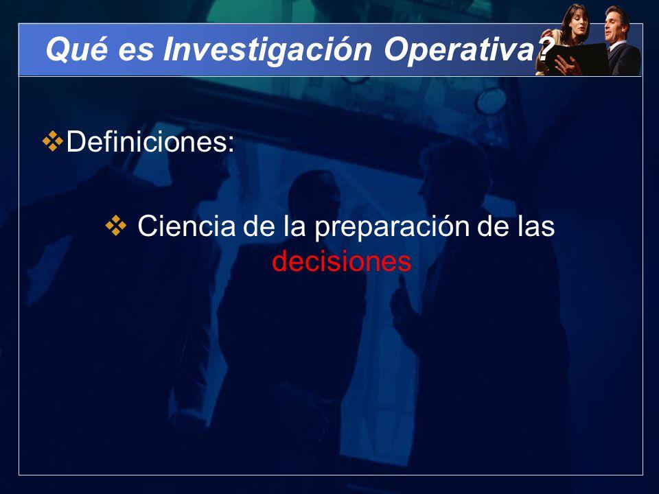 Qué es Investigación Operativa
