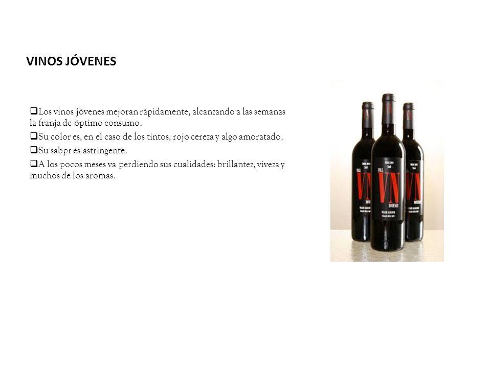 VINOS JÓVENES Los vinos jóvenes mejoran rápidamente, alcanzando a las semanas la franja de óptimo consumo.