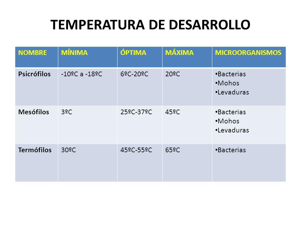 TEMPERATURA DE DESARROLLO