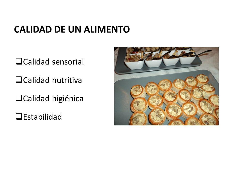 CALIDAD DE UN ALIMENTO Calidad sensorial Calidad nutritiva