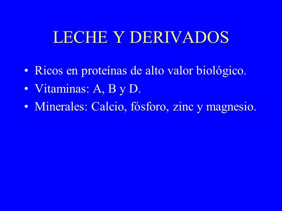 LECHE Y DERIVADOS Ricos en proteínas de alto valor biológico.