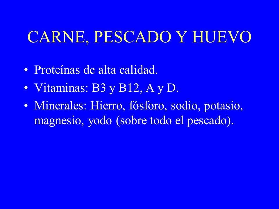 CARNE, PESCADO Y HUEVO Proteínas de alta calidad.
