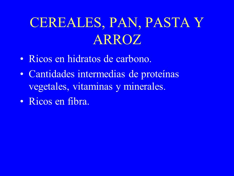 CEREALES, PAN, PASTA Y ARROZ