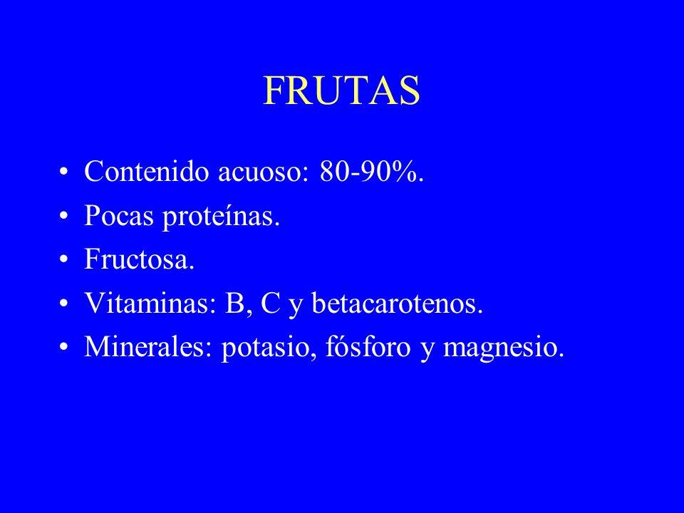 FRUTAS Contenido acuoso: 80-90%. Pocas proteínas. Fructosa.