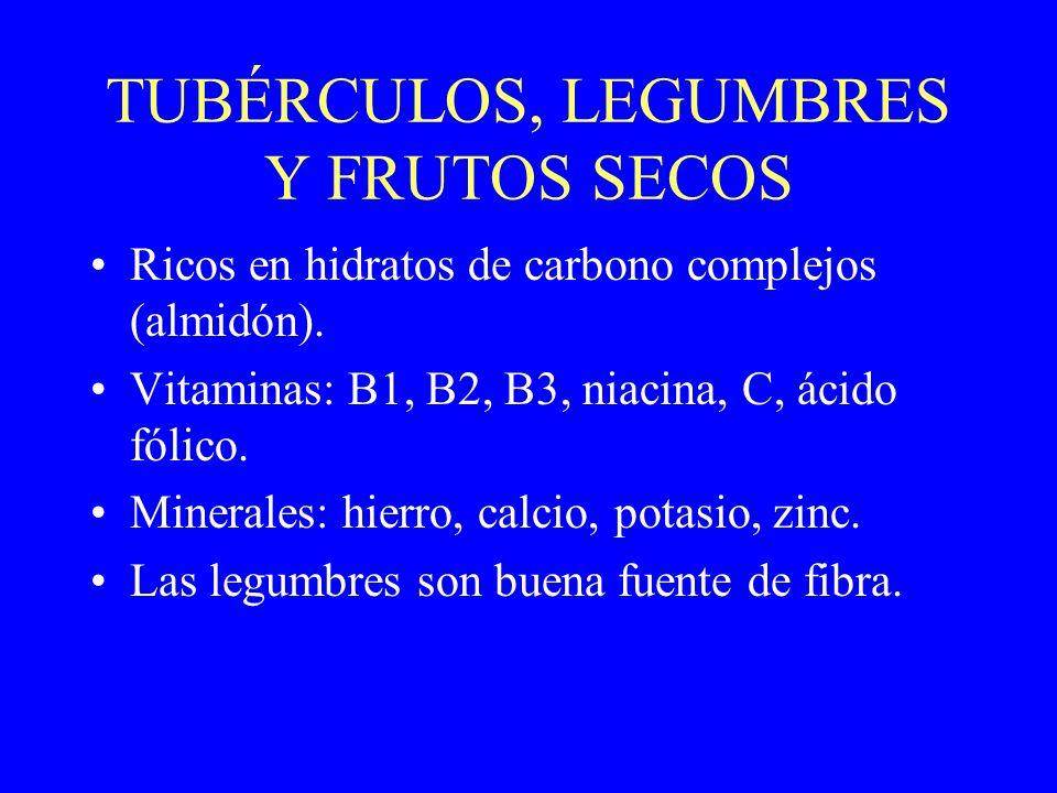 TUBÉRCULOS, LEGUMBRES Y FRUTOS SECOS