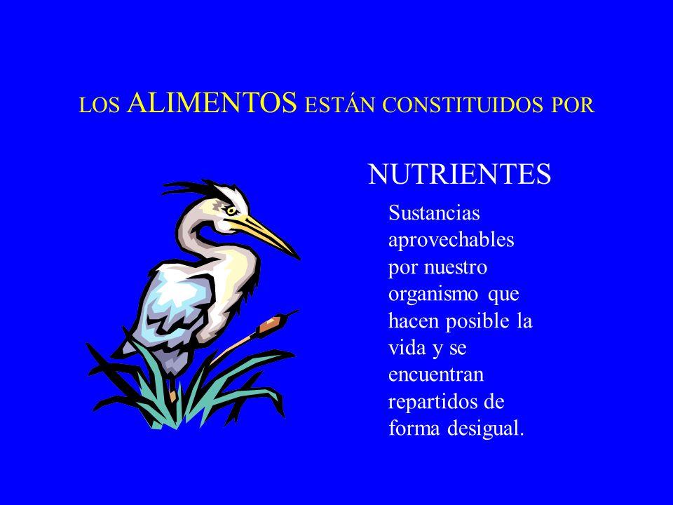 NUTRIENTES LOS ALIMENTOS ESTÁN CONSTITUIDOS POR