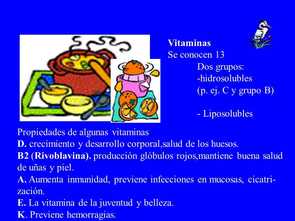 Vitaminas Se conocen 13. Dos grupos: -hidrosolubles. (p. ej. C y grupo B) - Liposolubles. Propiedades de algunas vitaminas.