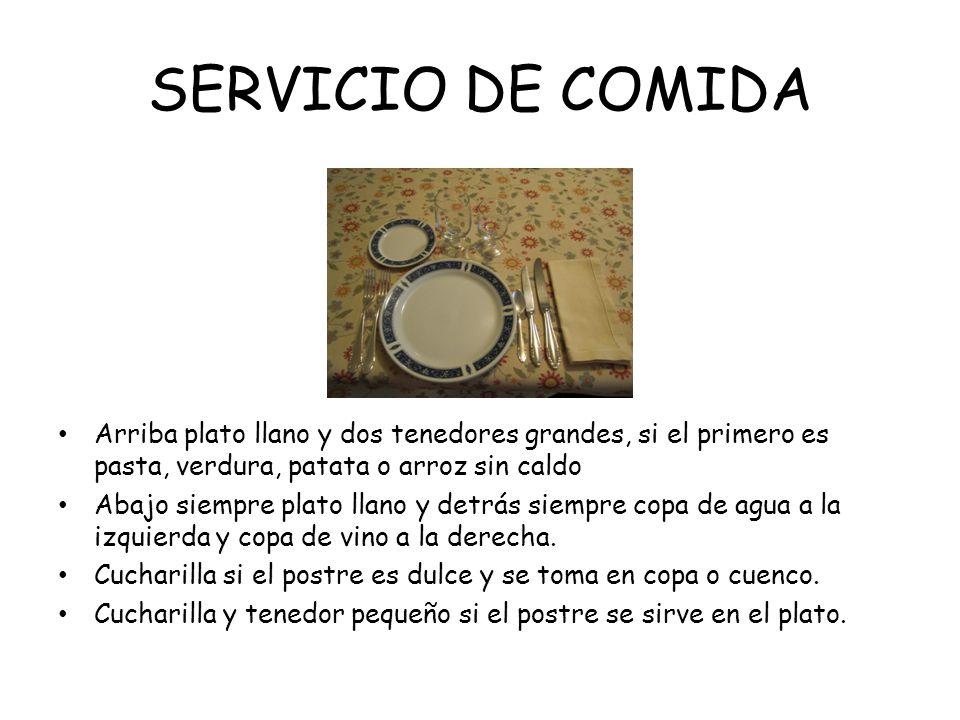 SERVICIO DE COMIDAArriba plato llano y dos tenedores grandes, si el primero es pasta, verdura, patata o arroz sin caldo.