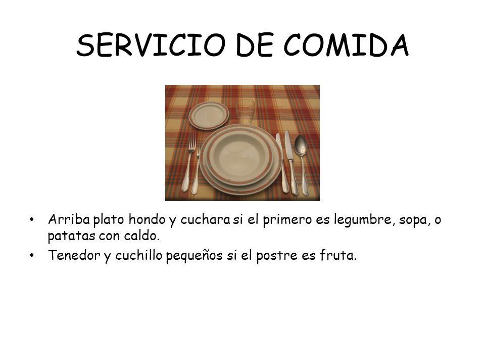 SERVICIO DE COMIDAArriba plato hondo y cuchara si el primero es legumbre, sopa, o patatas con caldo.