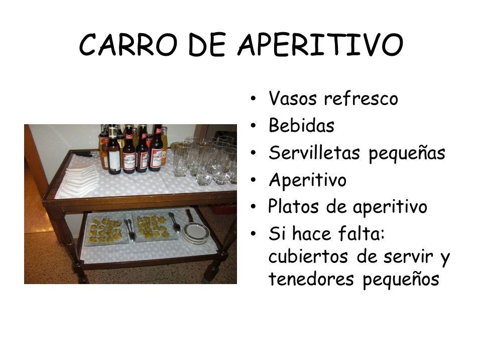 CARRO DE APERITIVO Vasos refresco Bebidas Servilletas pequeñas