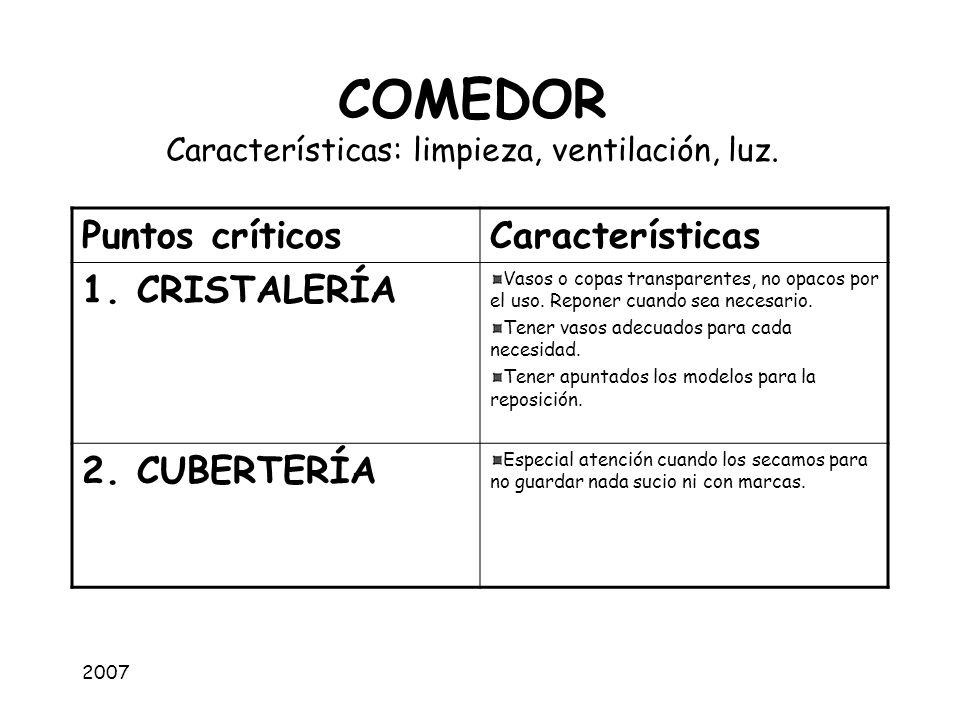 COMEDOR Características: limpieza, ventilación, luz.