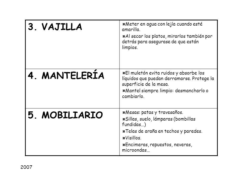 3. VAJILLA 4. MANTELERÍA 5. MOBILIARIO