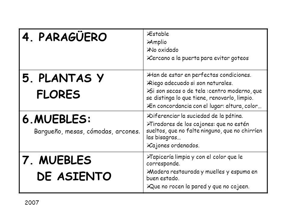 4. PARAGÜERO 5. PLANTAS Y FLORES 6.MUEBLES: 7. MUEBLES DE ASIENTO