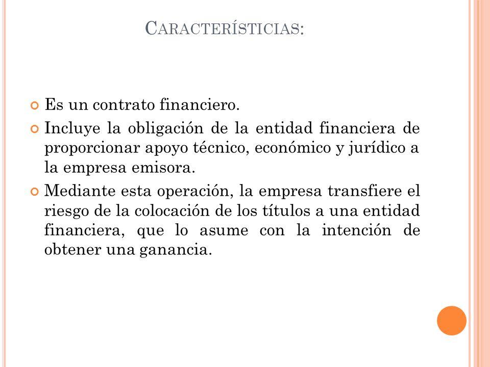 Característicias: Es un contrato financiero.