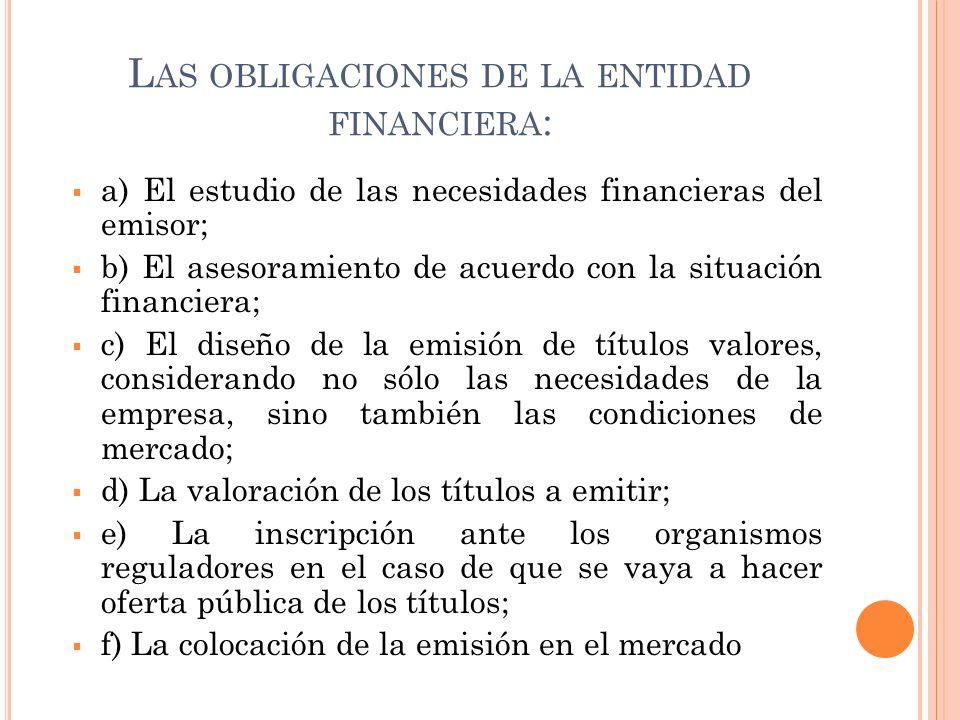 Las obligaciones de la entidad financiera: