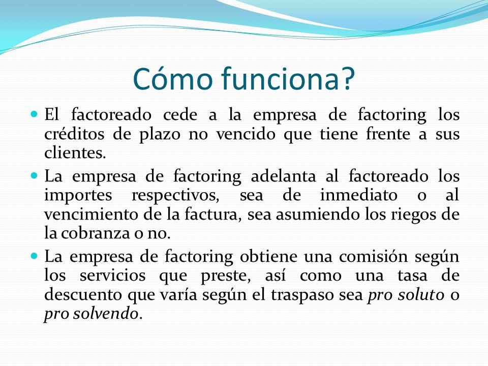 Cómo funciona El factoreado cede a la empresa de factoring los créditos de plazo no vencido que tiene frente a sus clientes.