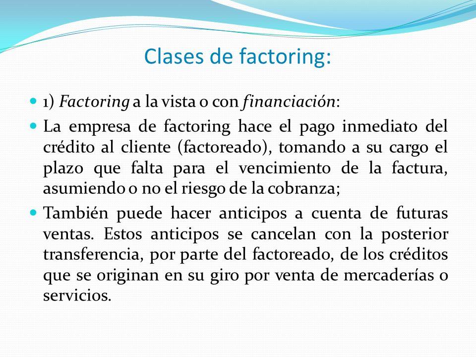 Clases de factoring: 1) Factoring a la vista o con financiación:
