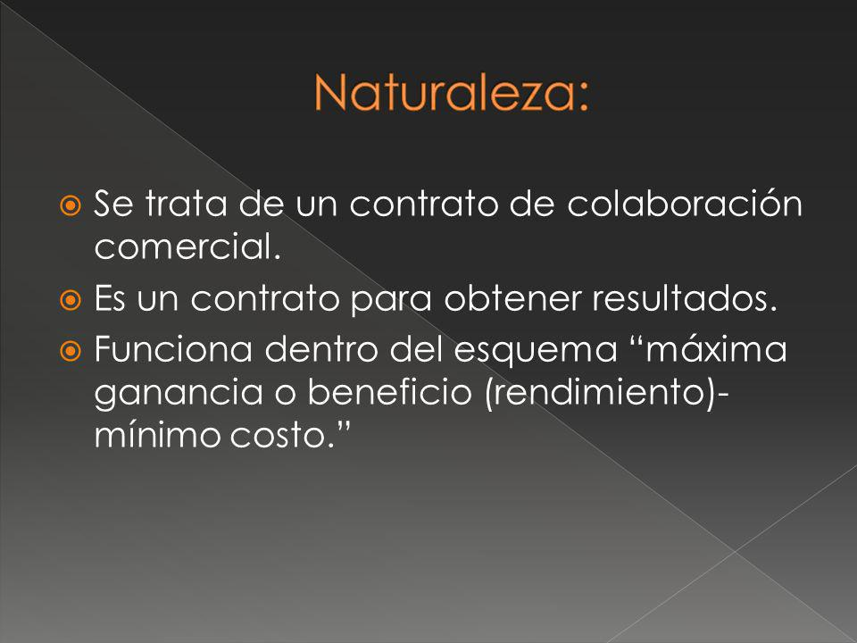 Naturaleza: Se trata de un contrato de colaboración comercial.