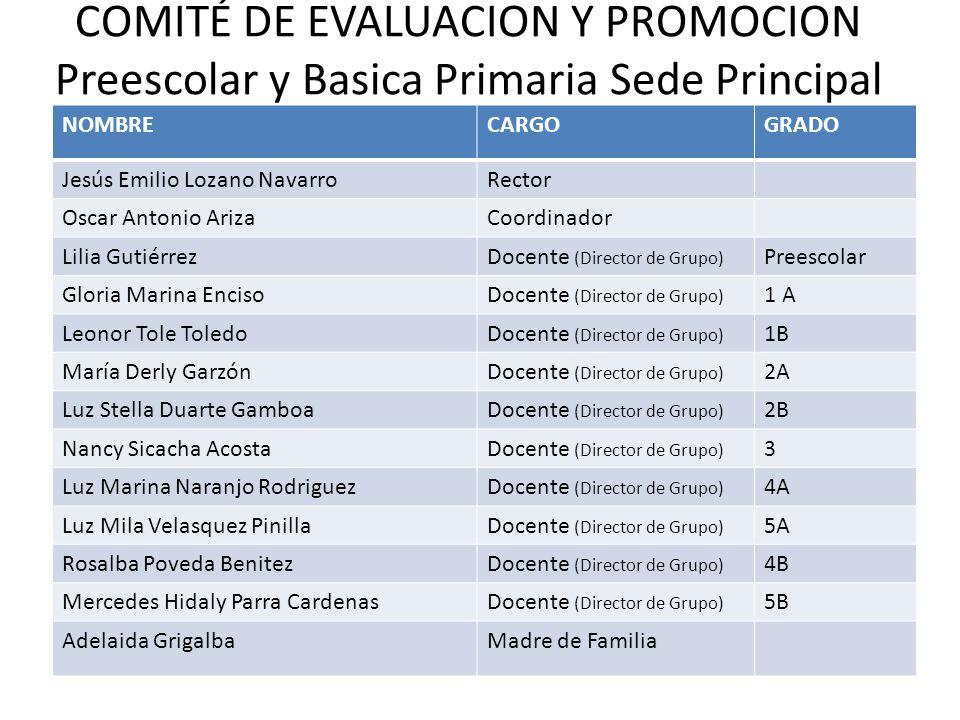 COMITÉ DE EVALUACION Y PROMOCION Preescolar y Basica Primaria Sede Principal