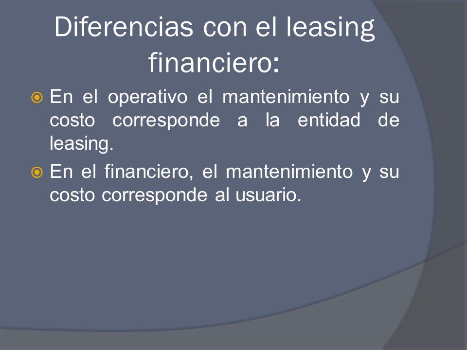 Diferencias con el leasing financiero: