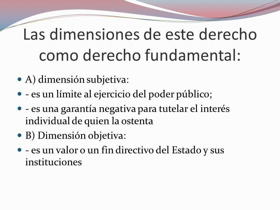 Las dimensiones de este derecho como derecho fundamental: