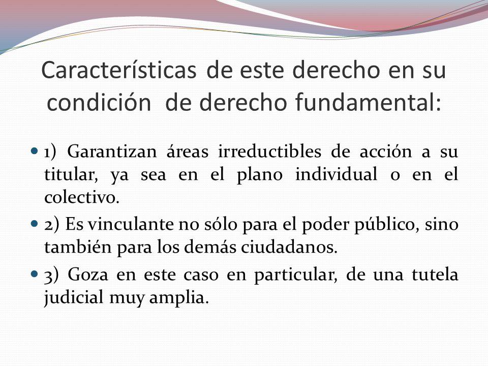 Características de este derecho en su condición de derecho fundamental: