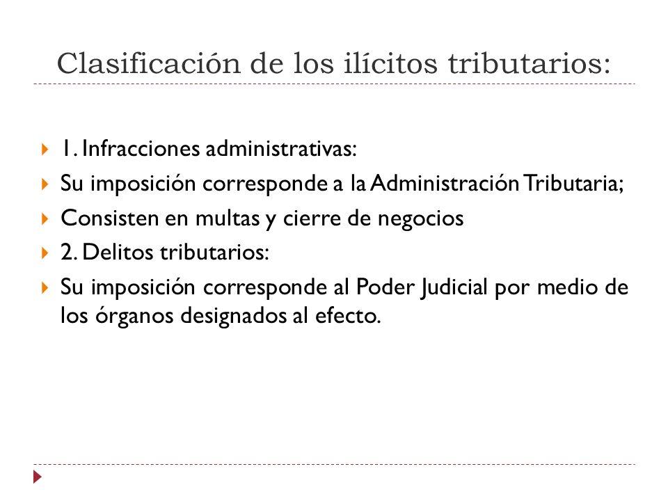 Clasificación de los ilícitos tributarios: