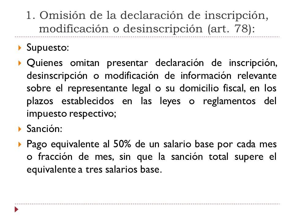 1. Omisión de la declaración de inscripción, modificación o desinscripción (art. 78):