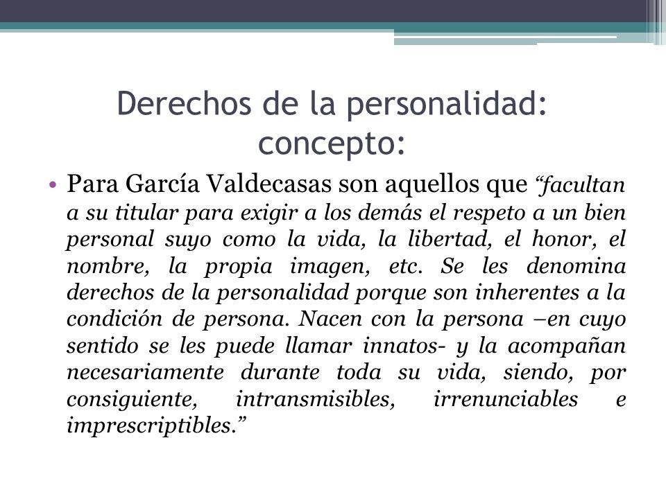 Derechos de la personalidad: concepto: