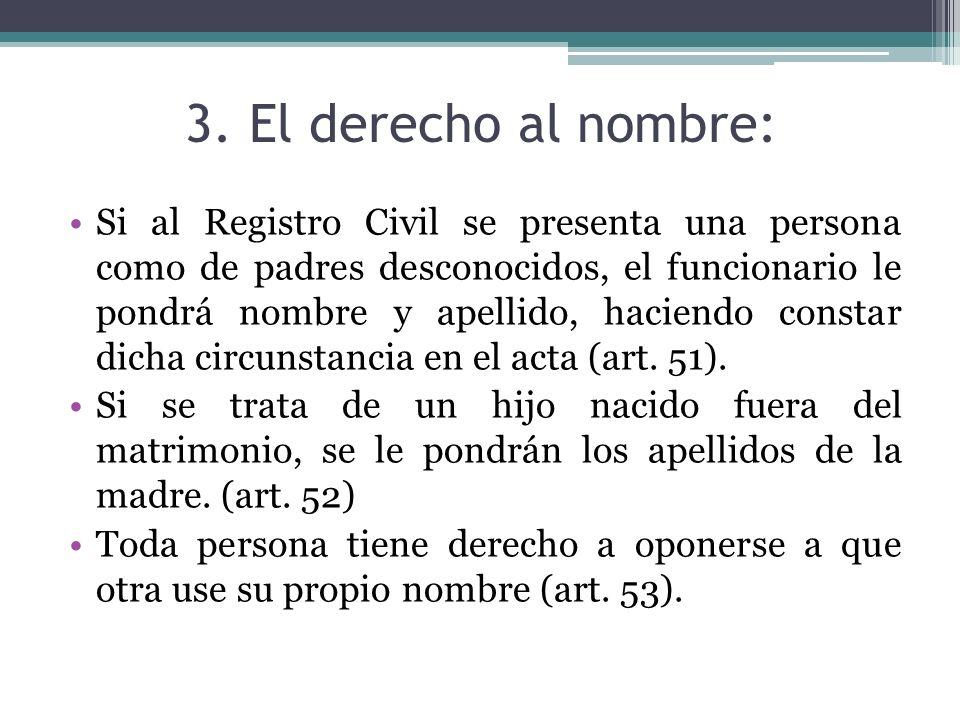 3. El derecho al nombre: