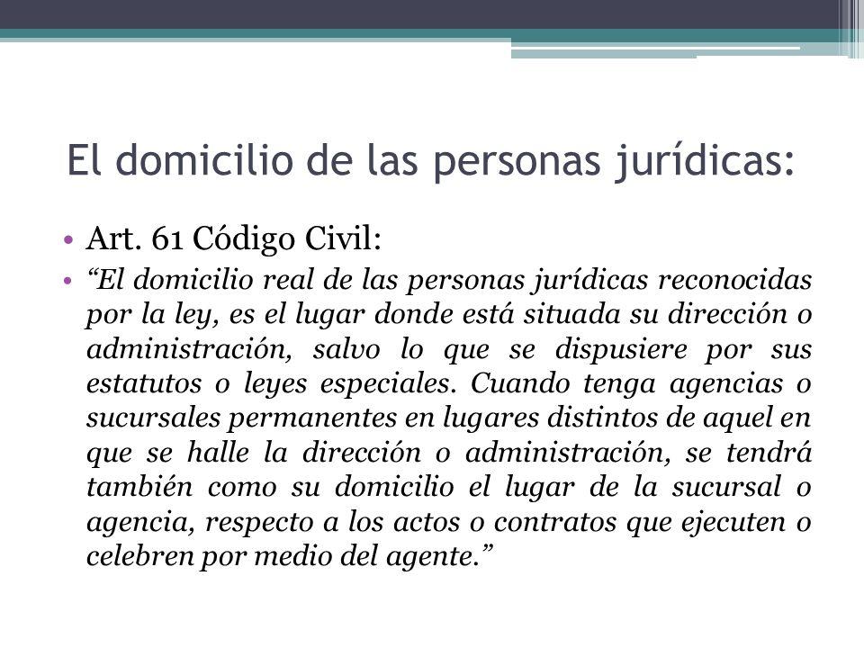 El domicilio de las personas jurídicas: