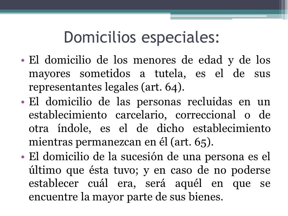 Domicilios especiales: