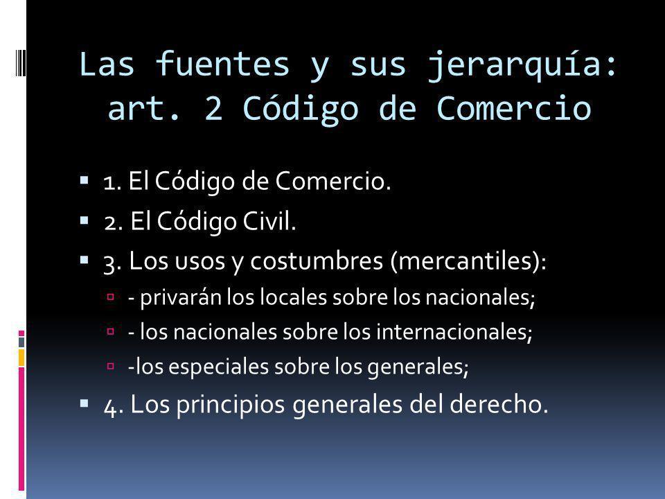 Las fuentes y sus jerarquía: art. 2 Código de Comercio