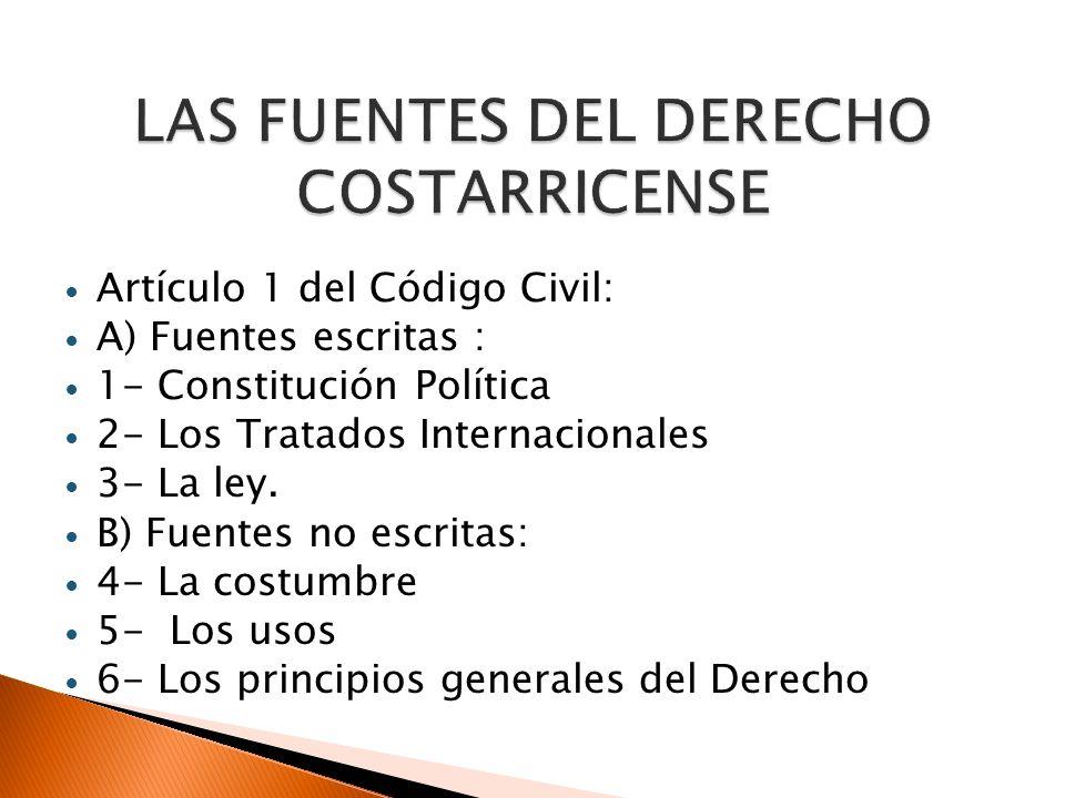 LAS FUENTES DEL DERECHO COSTARRICENSE