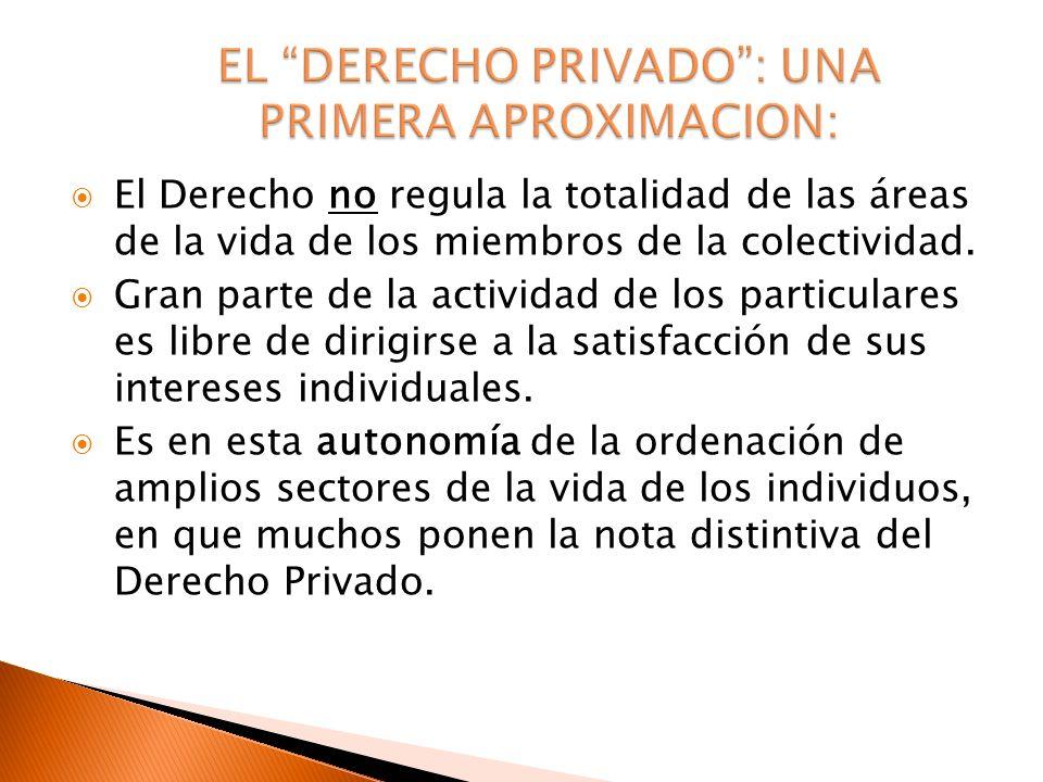 EL DERECHO PRIVADO : UNA PRIMERA APROXIMACION: