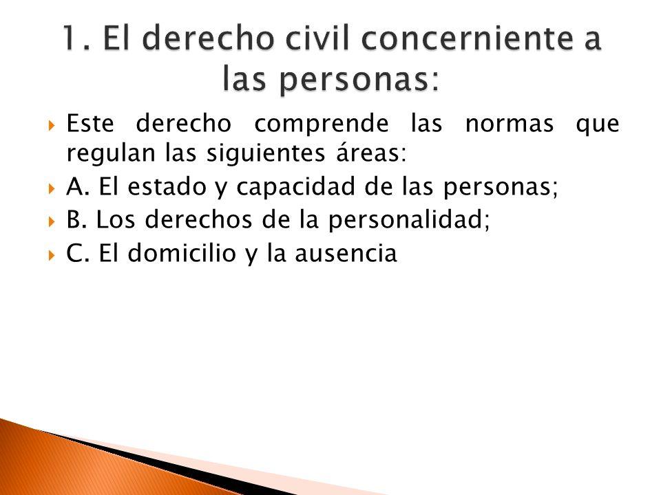 1. El derecho civil concerniente a las personas: