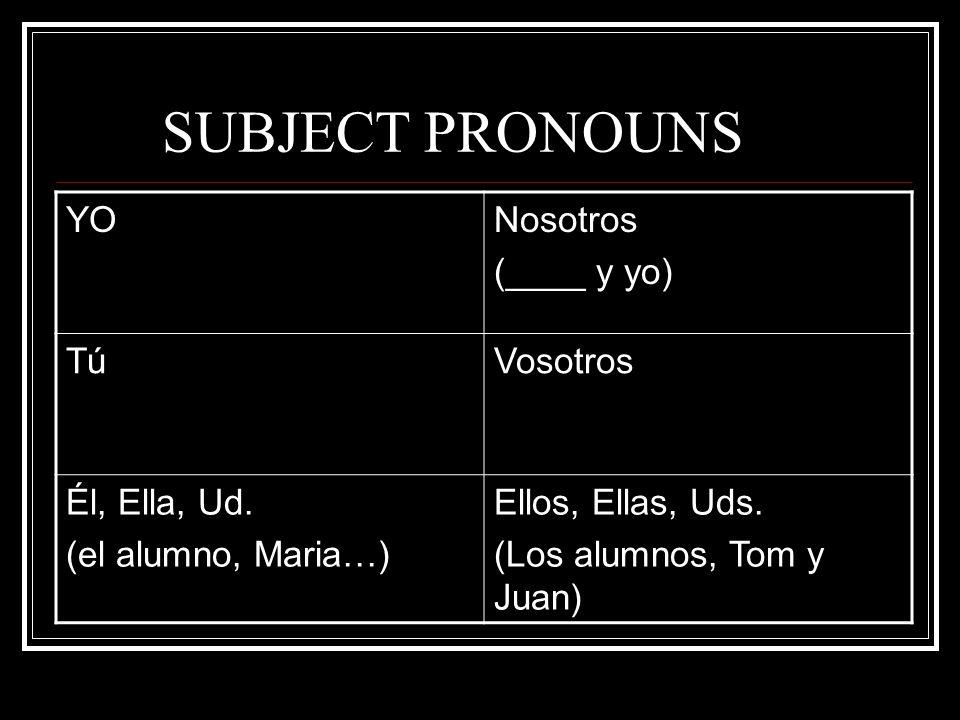 SUBJECT PRONOUNS YO Nosotros (____ y yo) Tú Vosotros Él, Ella, Ud.