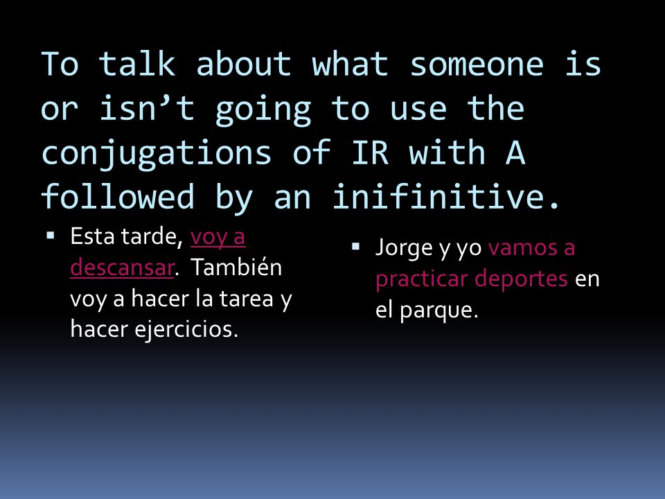 To talk about what someone is or isn't going to use the conjugations of IR with A followed by an inifinitive.