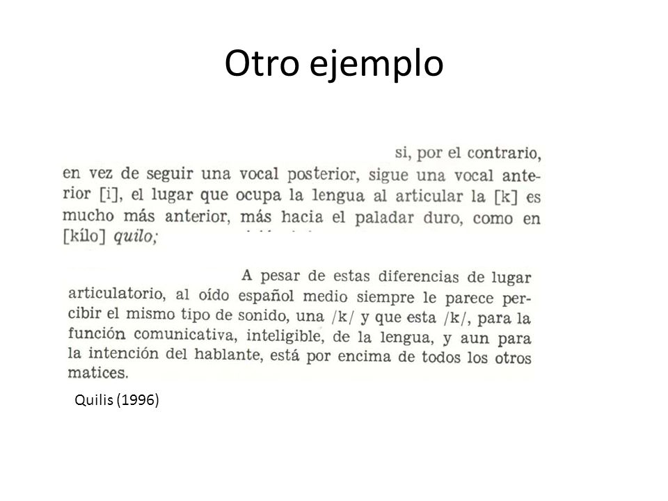 Otro ejemplo Quilis (1996)