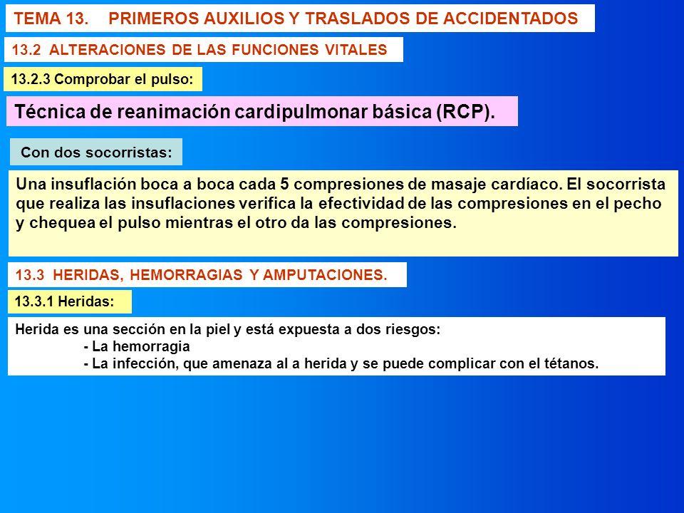 Técnica de reanimación cardipulmonar básica (RCP).