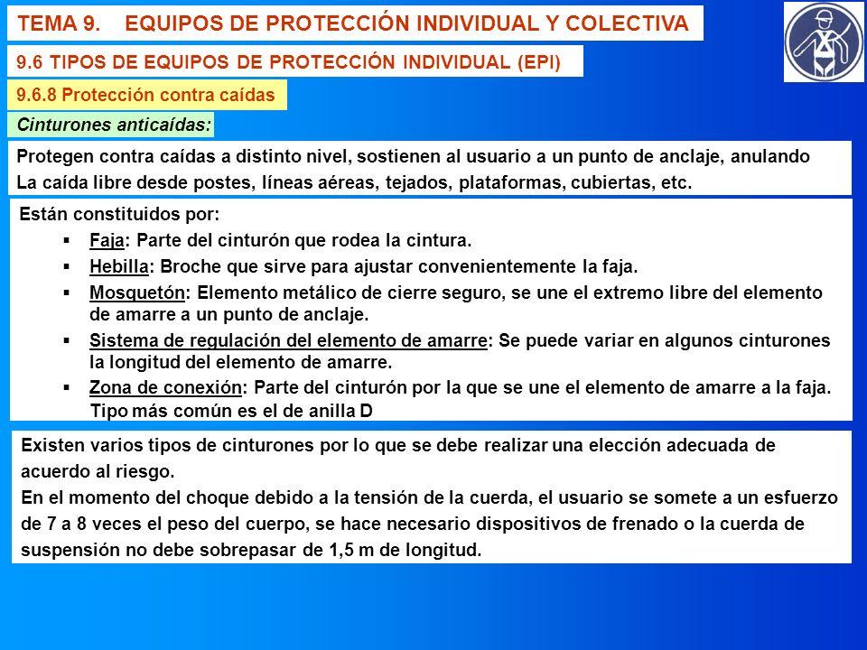 TEMA 9. EQUIPOS DE PROTECCIÓN INDIVIDUAL Y COLECTIVA