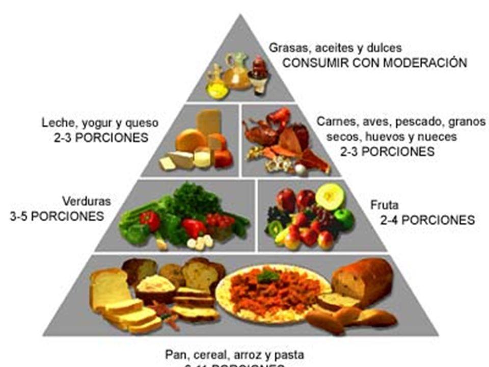 Esta piramide nos ayuda a seleccionar las cantidades de porciones que debemos ingerir de cada grupo de alimentos.