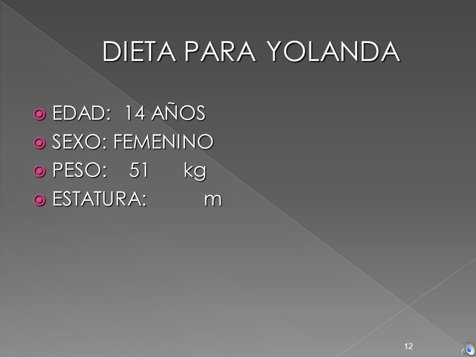 DIETA PARA YOLANDA EDAD: 14 AÑOS SEXO: FEMENINO PESO: 51 kg