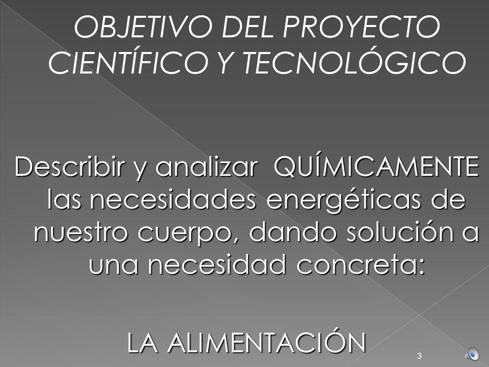 OBJETIVO DEL PROYECTO CIENTÍFICO Y TECNOLÓGICO