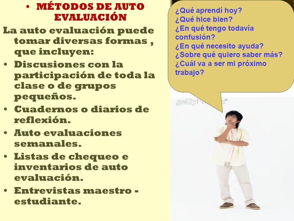 MÉTODOS DE AUTO EVALUACIÓN