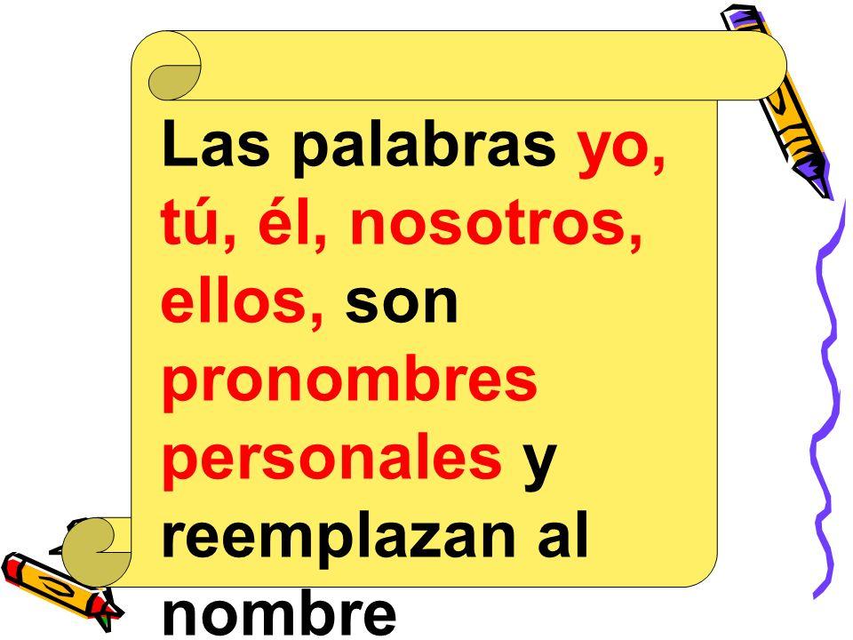 Las palabras yo, tú, él, nosotros, ellos, son pronombres personales y reemplazan al nombre (sustantivo propio) en una oración.
