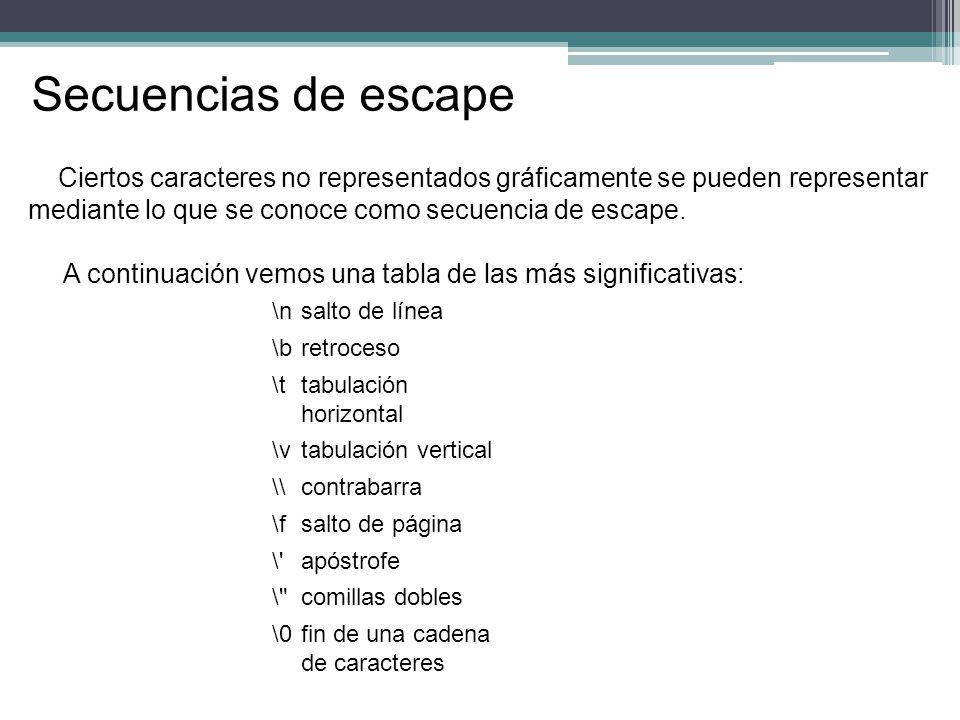 Secuencias de escape Ciertos caracteres no representados gráficamente se pueden representar. mediante lo que se conoce como secuencia de escape.