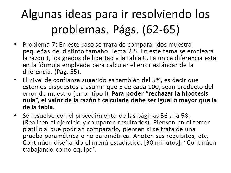 Algunas ideas para ir resolviendo los problemas. Págs. (62-65)