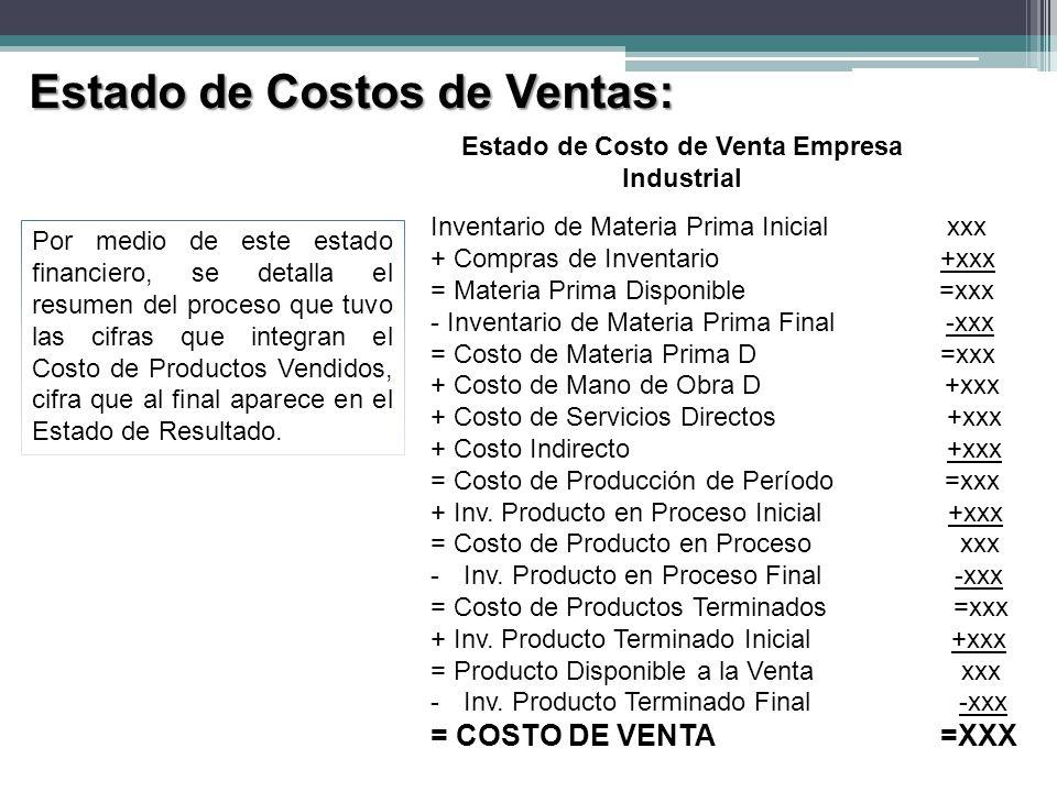 Estado de Costo de Venta Empresa Industrial