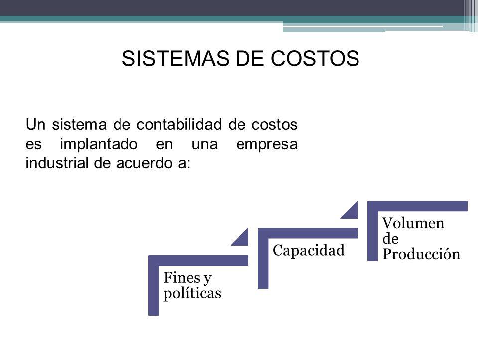 SISTEMAS DE COSTOS Un sistema de contabilidad de costos es implantado en una empresa industrial de acuerdo a: